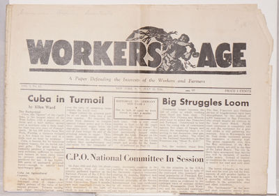 New York: Workers Age Publishing Association, 1934. Eight page newspaper, 11.5x16.75 inches, creased...