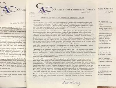 Long Beach: Christian Anti-Communism Crusade, 1969. Eight newsletters from the group, 8p. each, 8.5x...