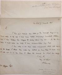 [Handwritten letter from the noted book collector and philanthropist, declining a request by William Hogan for a loan]