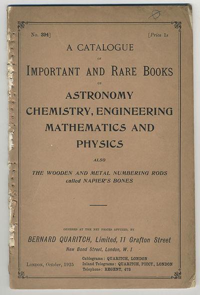 London: Bernard Quaritch, Ltd., 1925. 8vo. Frontis., 57, pp. Catalogue no. 394. Original printed wra...