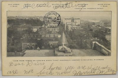 Photographic image taken from the building's roof and showing in the distance