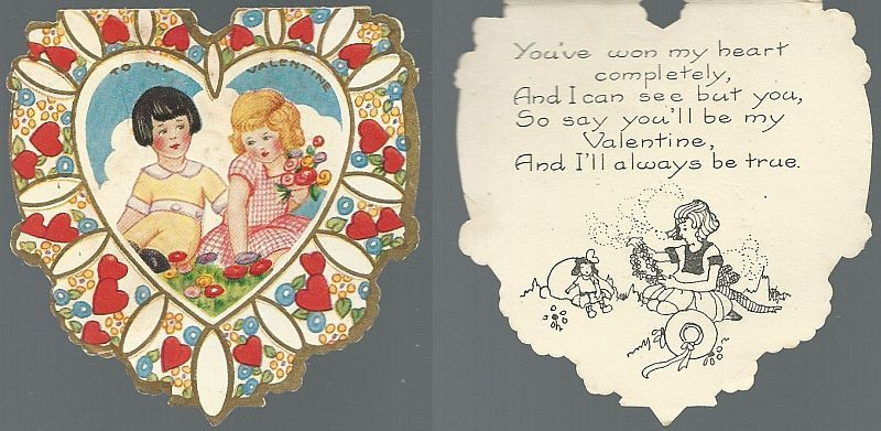 HEART SHAPED VICTORIAN VALENTINE WITH GIRL AND BOY, Valentine