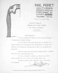"""Typed Letter signed, """"Paul Poiret"""