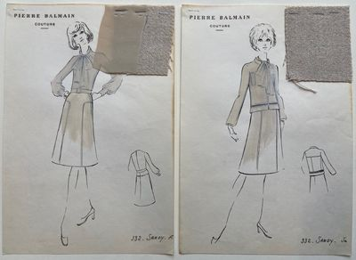 Paris: BALMAIN, Pierre. Ink on xerograph. Fabric swatches attached with staples. Sheets measure 12.2...