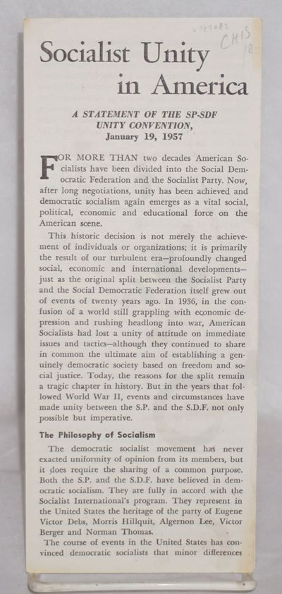 New York: Socialist Party-Social Democratic Federation, 1957. Single page folded to make four-panel,...