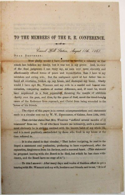, folded. Light foxing, old folds, Good+. Reverend Henry Whipple, Pastor of the Bench Street Methodi...