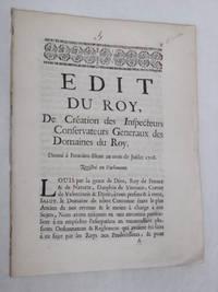 EDIT du Roy de Création des Inspecteurs Conservateurs Généraux des Domaines...