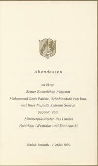 Abendessen, zu Ehren Seiner Kaiserlichen Majestat Mohammad Reza Pahlavi, Schinaschah von Iran und Ihrer Majestat Kaiserin Soraya gegeben vom Ministerprasidenten des Landes Nordrhein-Westfalen und Frau Arnold. Schloss Benrath, 1 March 1955