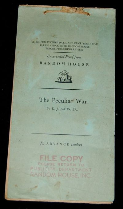 Random House, 1952. Uncorrected Proof. Soft Cover. Very Good binding. This is the Uncorrected Proof ...
