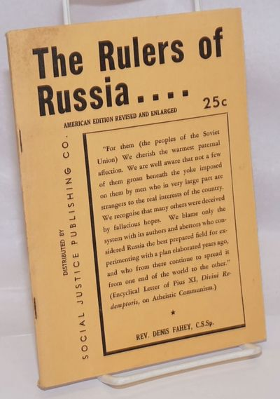 Royal Oak, MI: Social Justice Publishing Co, 1940. Pamphlet. 94p., wraps, wraps lightly soiled, penc...