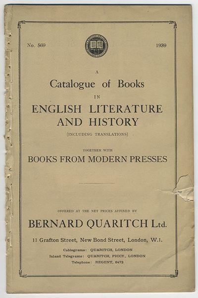 London: Bernard Quaritch, Ltd., 1939. 8vo. 34, pp. Catalogue no. 569. Original printed wrappers. Res...
