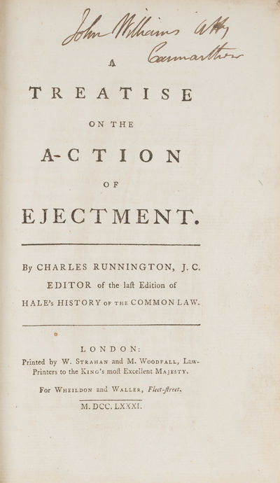 1781. Runnington on the Action of Ejectment Runnington, Charles. A Treatise on the Action of Ejectme...