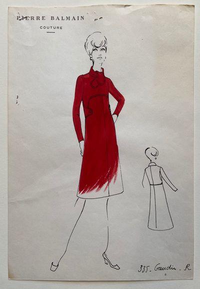 Paris: BALMAIN, Pierre. Gaudin. Ink, watercolor and gouache on xerograph. Sheet measures 12.25