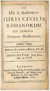 View Image 2 of 2 for De Usu et Authoritate Juris Civilis Romanorum, Per Dominia Principum. Inventory #71081