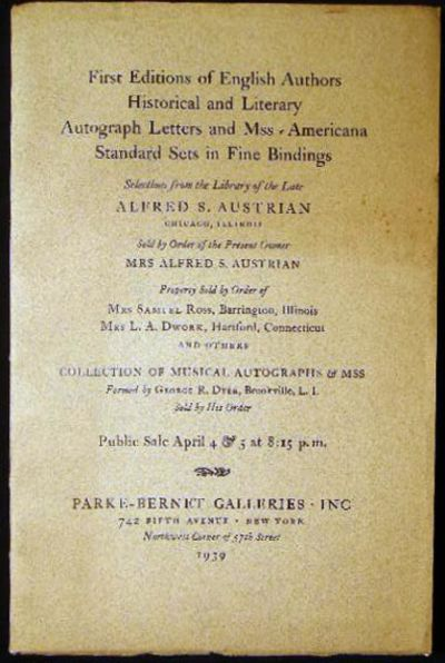 New York, NY: Parke-Bernet Galleries, 1939. Sale No. 103; a 120 page auction catalogue, describing 5...