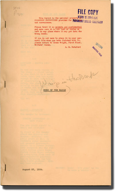Hollywood: Paramount Pictures, 1934. Early Draft script for the 1935 film, under the working title