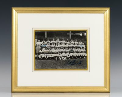Black and white photograph of the 1956 Brooklyn Dodgers signed by Jackie Robinson, Pee Wee Reese, Du...