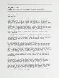 """Typed letter, signed """"Roger Ebert"""""""
