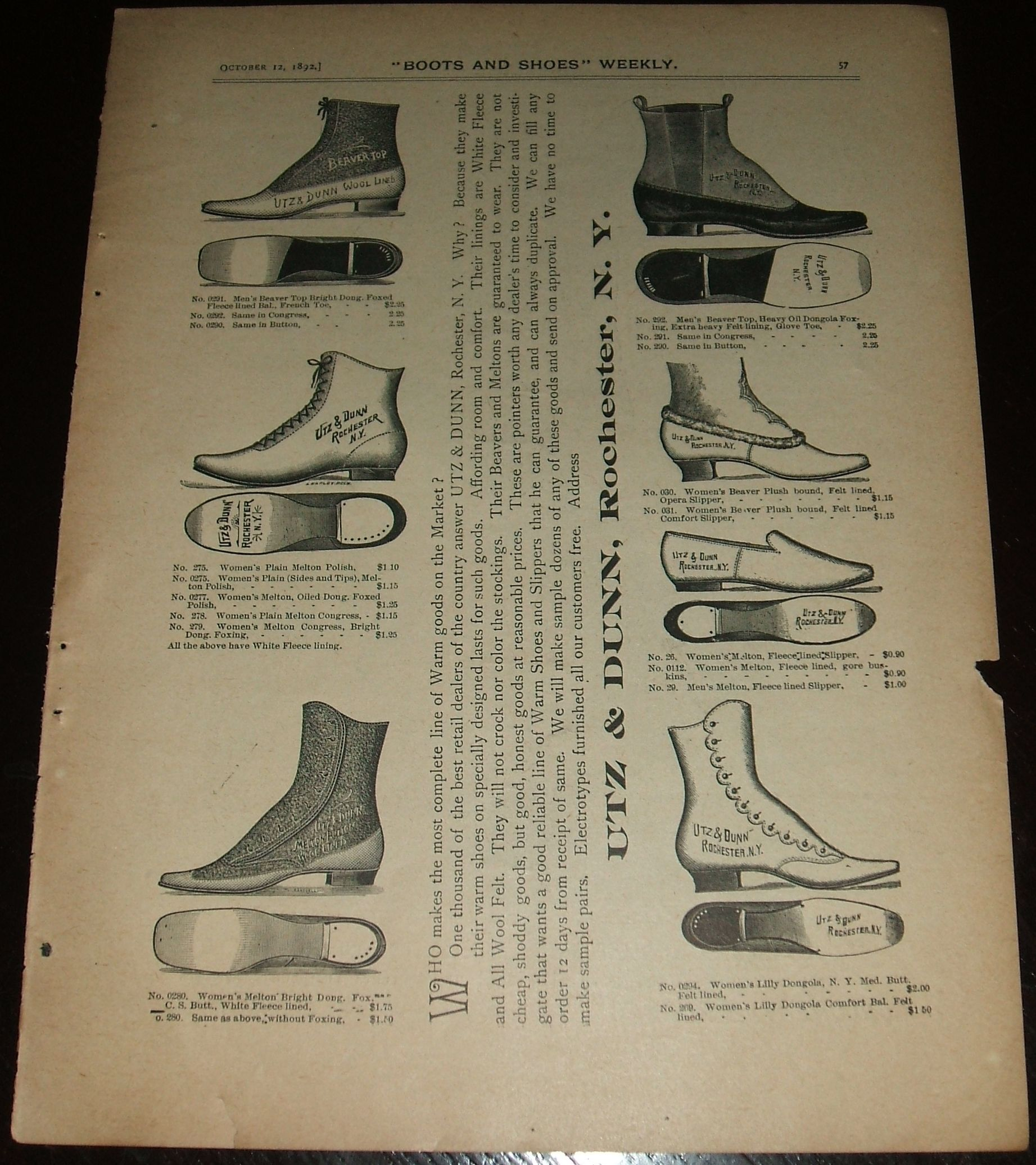 Original 1892 Full Page Illustrated Shoe Advertisement Utz & Dunn by Utz &  Dunn - 1892 - from biblioboy and Biblio com