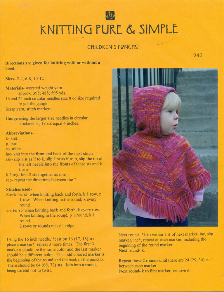 Knitting Questions Help : Knitting pure simple children s poncho pattern