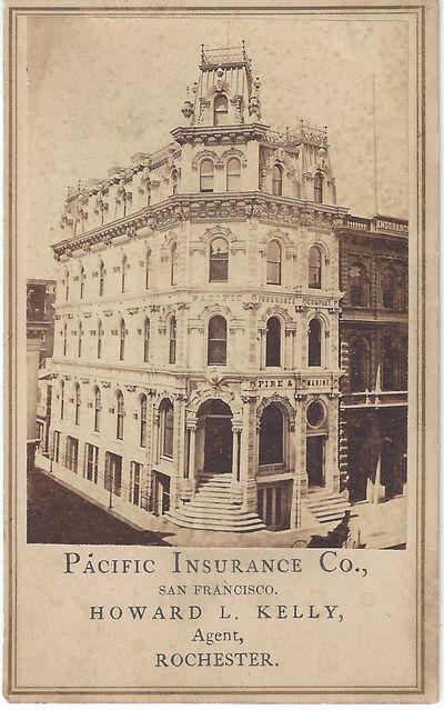 San Francisco: , 1865. Carte de Visite. Albumen photograph on a white Pacific Insurance Company moun...