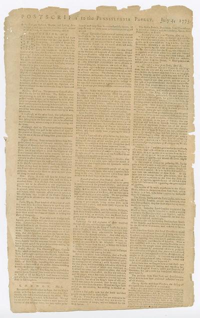 [Philadelphia, 1775. Broadsheet, approximately 16 1/4 x 10 inches. Edges chipped, upper left corner ...