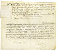 "Printed document on vellum, in Latin, accomplished in ms., being a royal commission appointing William Johnson captain (""nauclerus"") of the ship ""Maria"""