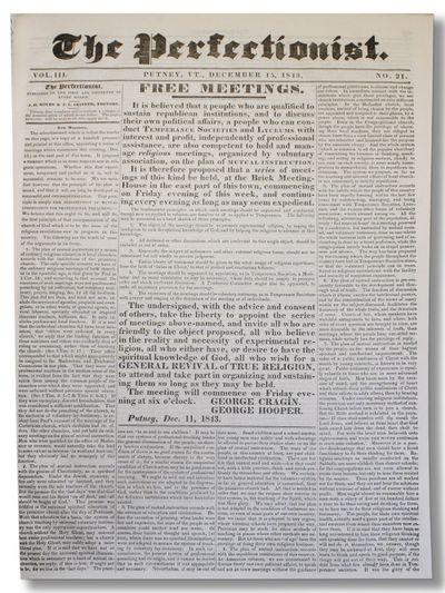 Putney, VT, 1843-45. Unbroken run of forty-eight biweekly issues, comprising Vol. III, no. 1 (Feb. 1...