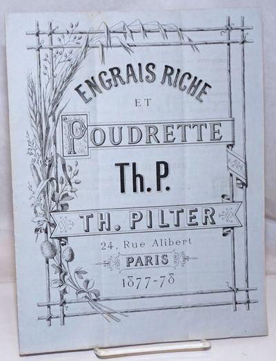 Paris: Th. Pilter, 1877. Pamphlet. p., sewn pamphlet (original thread, good condition) in 10.5x8 inc...