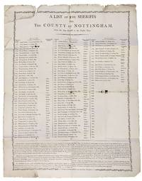 A LIST Of The SHERIFFS For The COUNTY Of NOTTINGHAM; From the Year M, DCC to the Present Time
