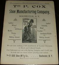 image of Original 1890 Full Page Illustrated Advertisement for the P. Cox Shoe  Company