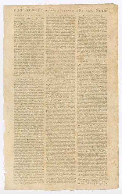 [Philadelphia, 1775. Broadsheet, approximately 16 1/4 x 10 inches. Edges slightly chipped. Several s...