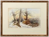 [Original Painting:] Winter Landscape at Sunrise