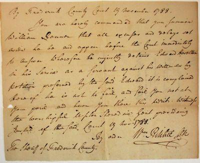 Frederick County, Maryland, 1788. Manuscript broadside, 6