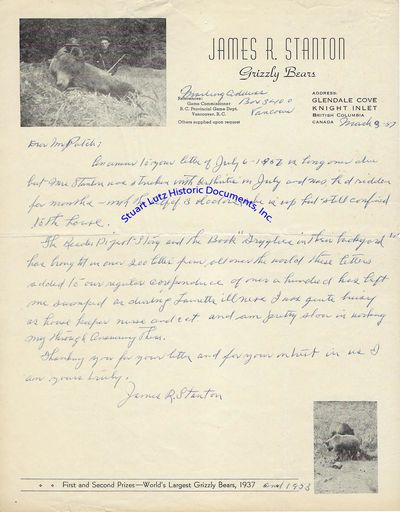 "(GRIZZLY BEAR). ALS. 1pg. 8 ½"" x 11"". March 3, 1957. British Columbia. An autograph letter sign..."