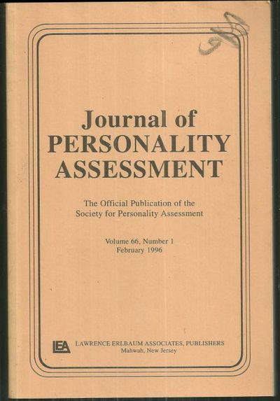 JOURNAL OF PERSONALITY ASSESSMENT Volume 66, Number 1, February 1996, Society For Personality Assessment