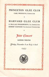 1953 Program, Joint Concert with Princeton Glee Club and Harvard Glee Club