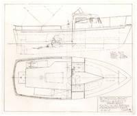 Original, Hand-Drawn Carl Alberg Motor Boat Design