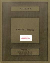 Sale 22/23 Sept., 6/7 Oct. 1986: Printed Books, incl. Early printed &  Continental Books, English Literature, english and Continental Illustrated  Books, Children's Books, Juvenilia and Drawings.