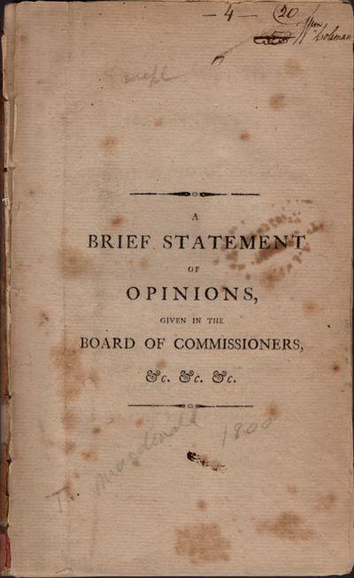 Philadelphia: Printed by James Humphreys, 1800. First Edition. Wraps. Fair. Disbound wraps. Approx. ...