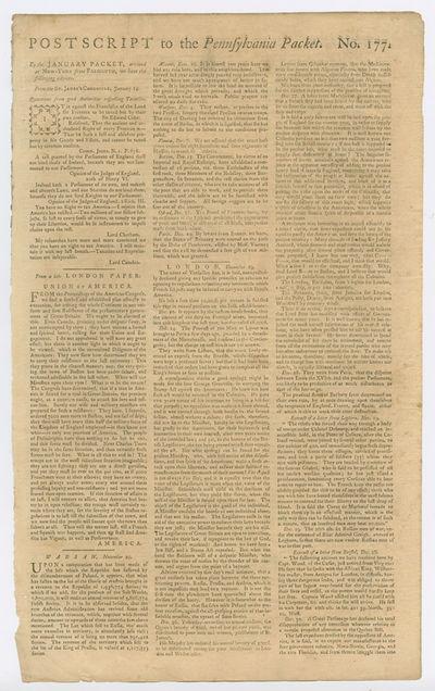 [Philadelphia, 1775. Broadsheet, approximately 16 1/4 x 10 inches. Edges slightly chipped. Three sma...