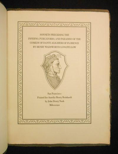San Francisco: Printed for Aurelia Henry Reinhardt by John Henry Nash, 1925. Limited Edition. Wraps....