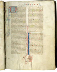 image of Vulgate Bible; in Latin, decorated manuscript on parchment