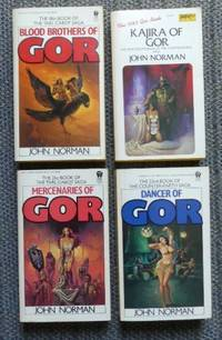 image of GOR.  VOLUME 18. BLOOD BROTHERS OF GOR.  VOLUME 19. KAJIRA OF GOR.  VOLUME 21. MERCENARIES OF GOR.  VOLUME 22. DANCER OF GOR.  4 BOOKS FROM THE CHRONICLES OF COUNTER-EARTH. OR  THE TARL CABOT SAGA.