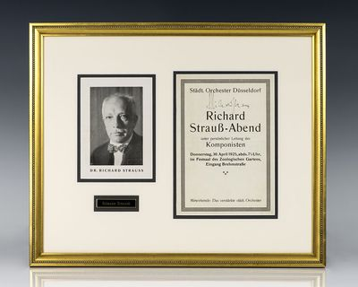 1925. Richard Strauss signed program. The program was for a concert by the Dusseldorf City Orchestra...