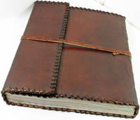 """Handmade Leather Journal with lace Edge 10"""" x 12"""" 100% Cotton Paper by David Friedman"""
