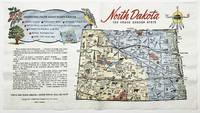 North Dakota The Peace Garden State - set of NINE vintage color pictorial paper napkins.
