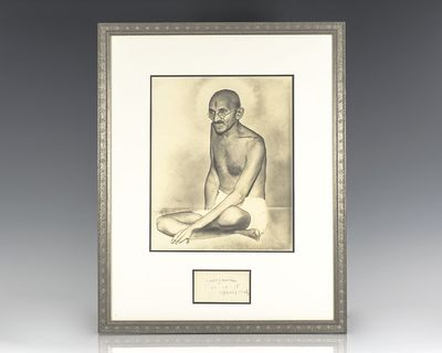 Rare Mohandas K. Gandhi autograph, signed at the height of the struggle for Indian Independence. Sig...