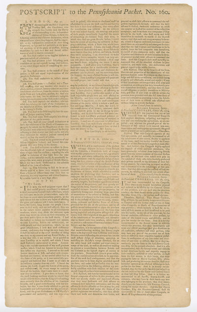 [Philadelphia, 1774. Broadsheet, approximately 16 1/4 x 10 inches. Edges slightly chipped, two small...