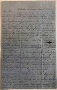 """AUTOGRAPH LETTER SIGNED BY W.B. MCDOWELL OF McKINLEY ALABAMA, TO ALABAMA GOVERNOR JOHN GILL SHORTER, 8 JANUARY 1862, URGING REPEAL OF ALABAMA'S 'STAY LAW' AND WARNING OF """"MANIFESTATIONS AGAINST THE PROSECUTION OF THE WAR."""